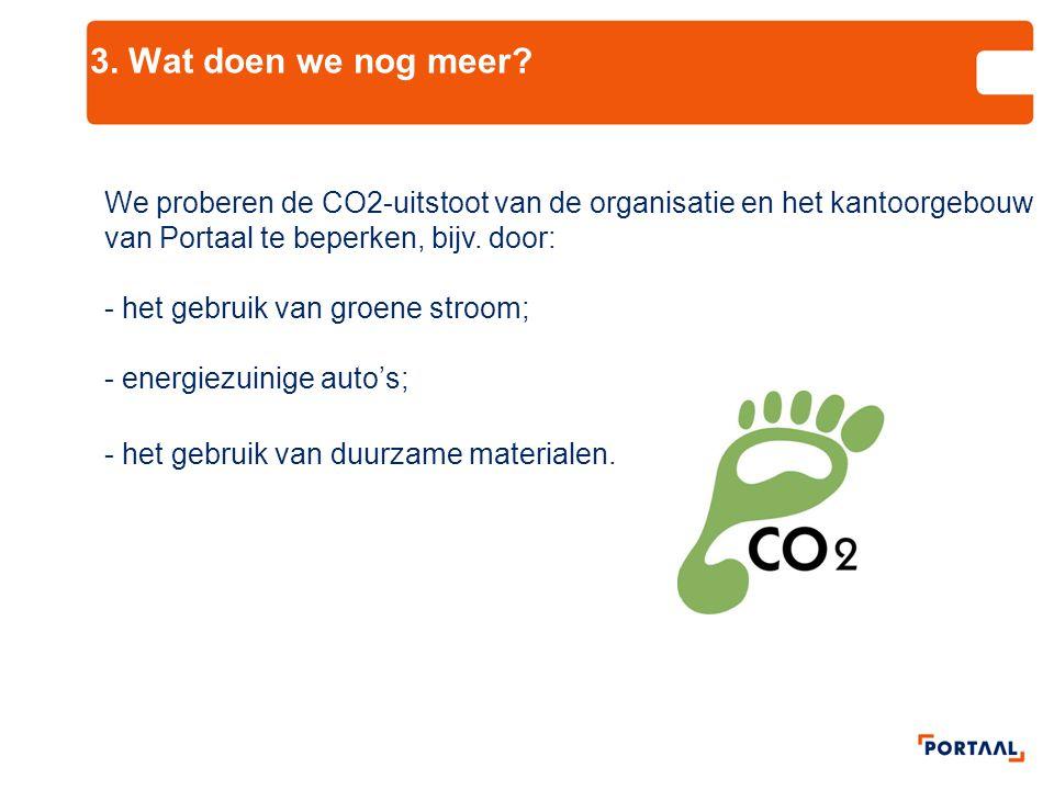 3. Wat doen we nog meer We proberen de CO2-uitstoot van de organisatie en het kantoorgebouw van Portaal te beperken, bijv. door: