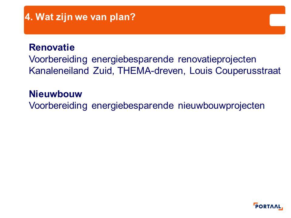 4. Wat zijn we van plan Renovatie. Voorbereiding energiebesparende renovatieprojecten Kanaleneiland Zuid, THEMA-dreven, Louis Couperusstraat.
