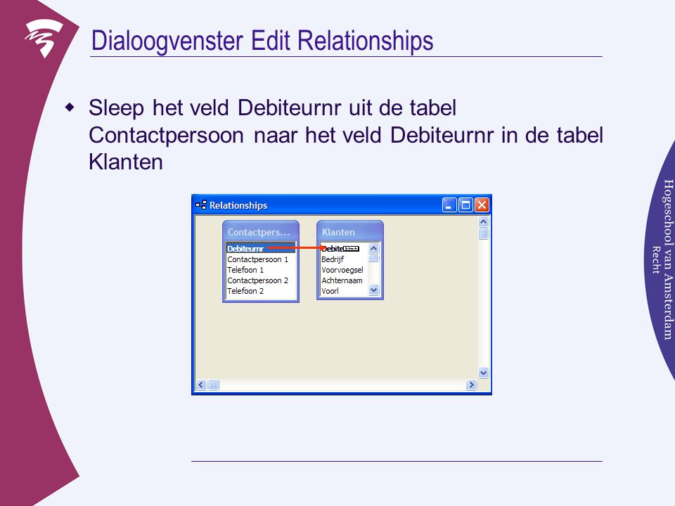 Dialoogvenster Edit Relationships