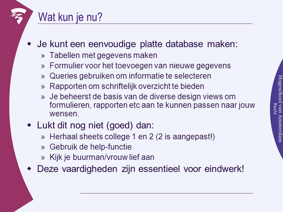 Wat kun je nu Je kunt een eenvoudige platte database maken: