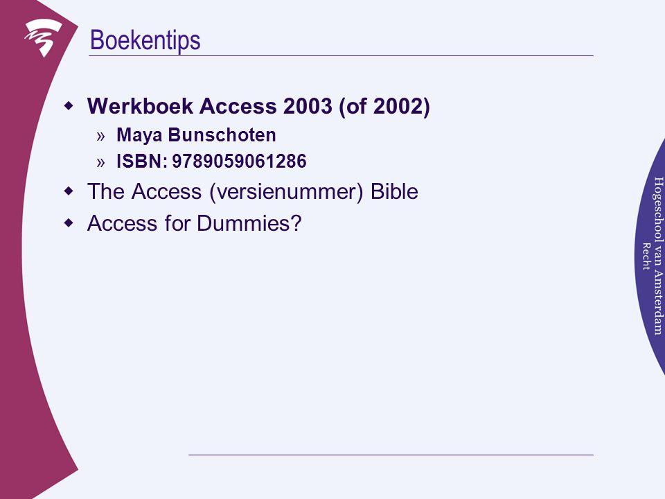 Boekentips Werkboek Access 2003 (of 2002)