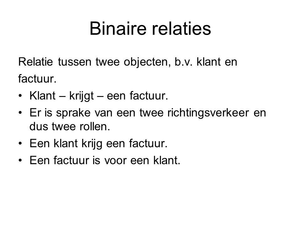 Binaire relaties Relatie tussen twee objecten, b.v. klant en factuur.
