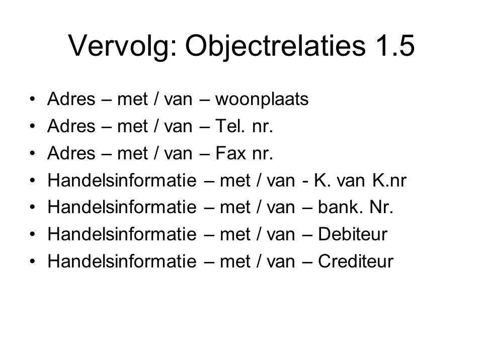 Vervolg: Objectrelaties 1.5