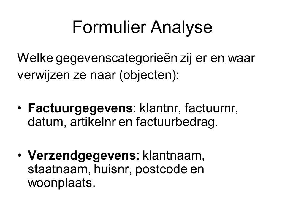 Formulier Analyse Welke gegevenscategorieën zij er en waar