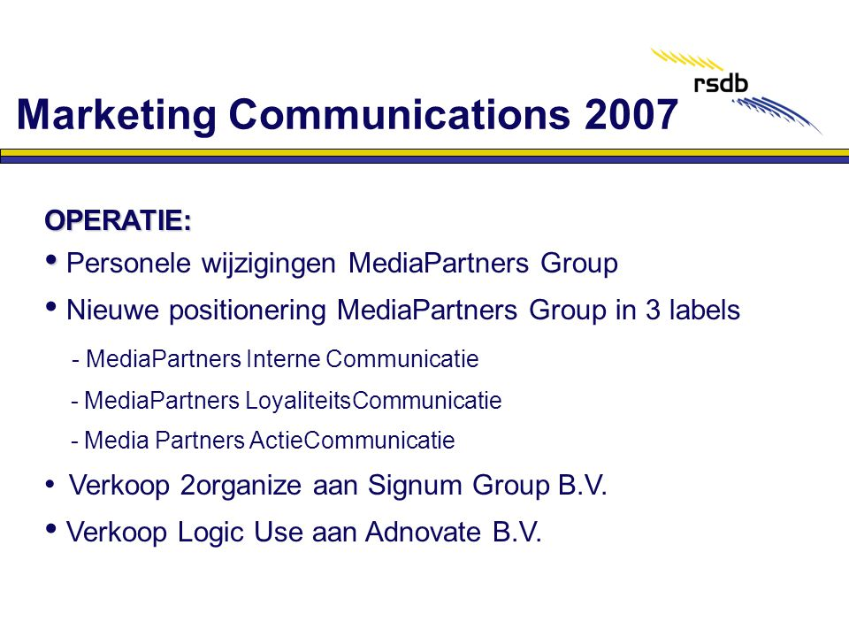 Marketing Communications 2007