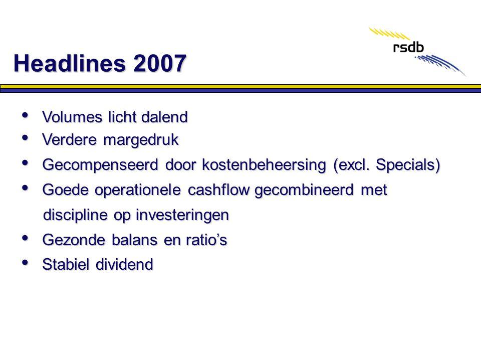 Headlines 2007 Volumes licht dalend Verdere margedruk