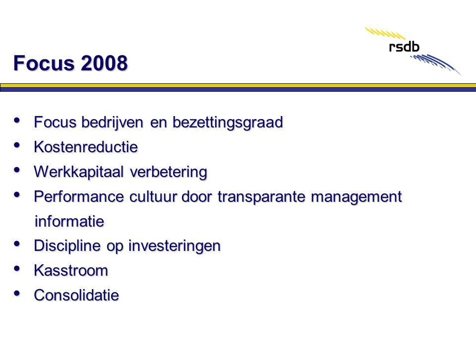 Focus 2008 Focus bedrijven en bezettingsgraad Kostenreductie