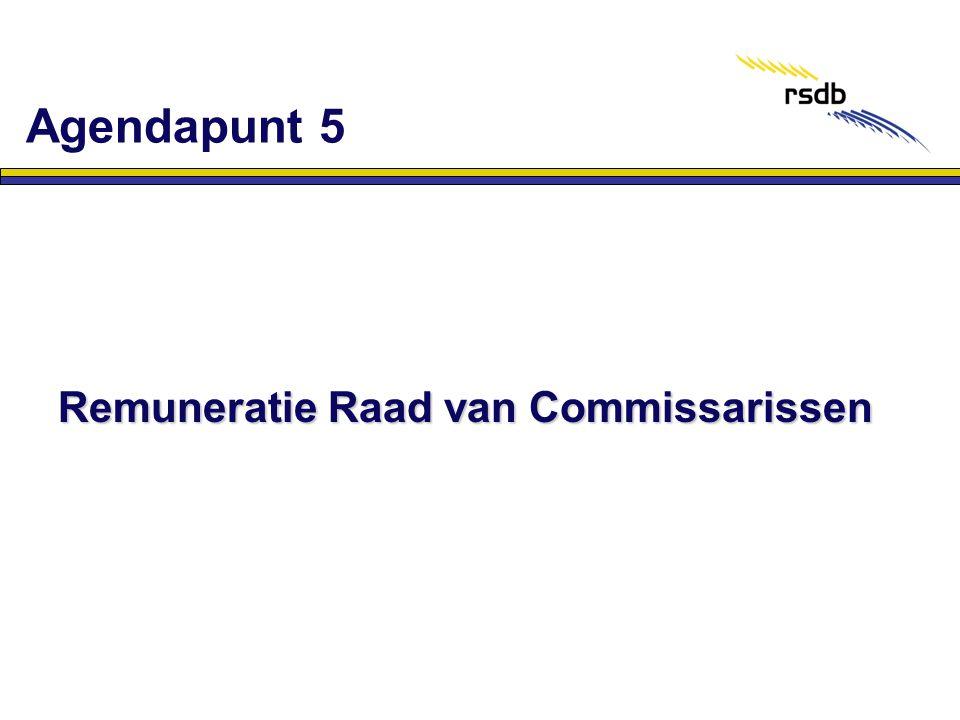 Agendapunt 5 Remuneratie Raad van Commissarissen
