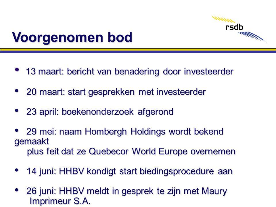 Voorgenomen bod 13 maart: bericht van benadering door investeerder