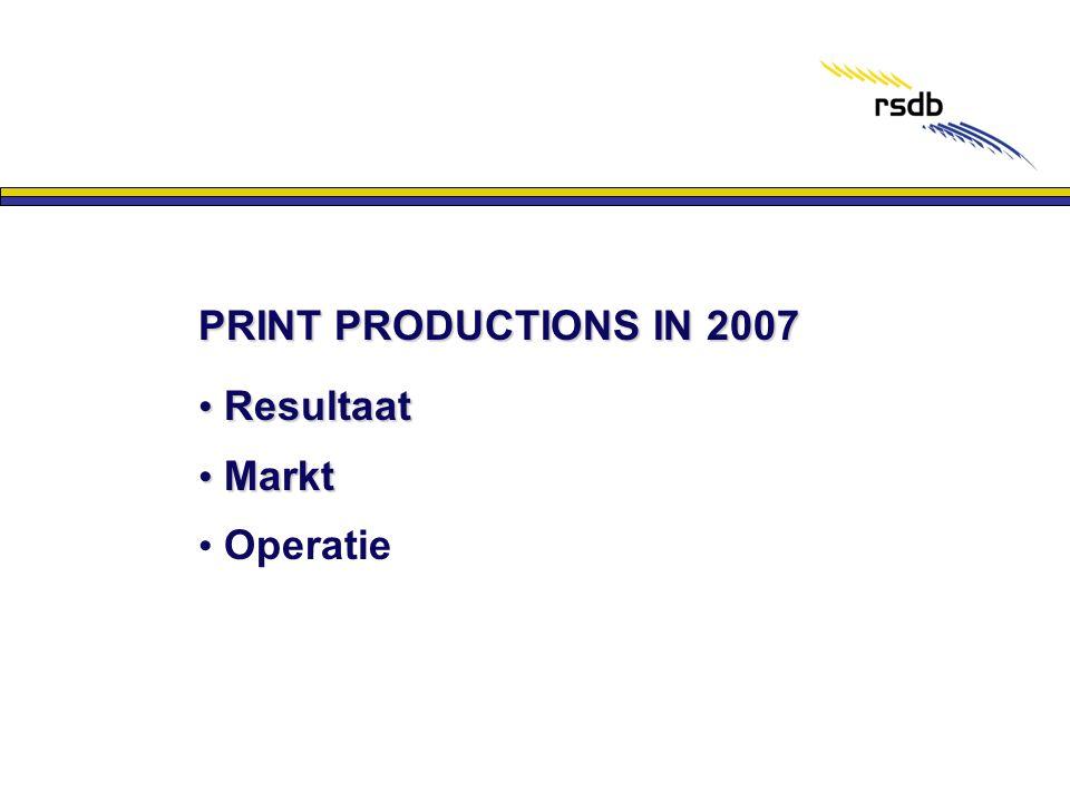 PRINT PRODUCTIONS IN 2007 Resultaat Markt Operatie