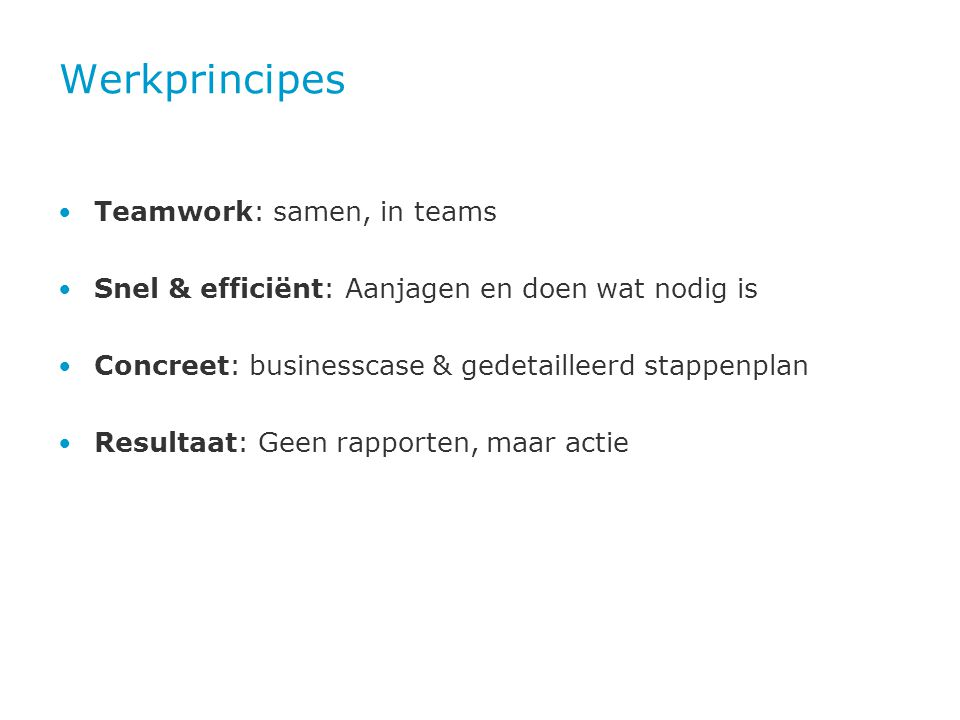Werkprincipes Teamwork: samen, in teams