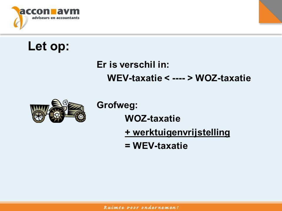 Let op: Er is verschil in: WEV-taxatie < ---- > WOZ-taxatie