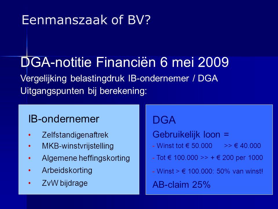 DGA-notitie Financiën 6 mei 2009