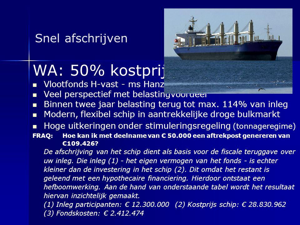 WA: 50% kostprijs Snel afschrijven Vlootfonds H-vast - ms Hanze Goslar