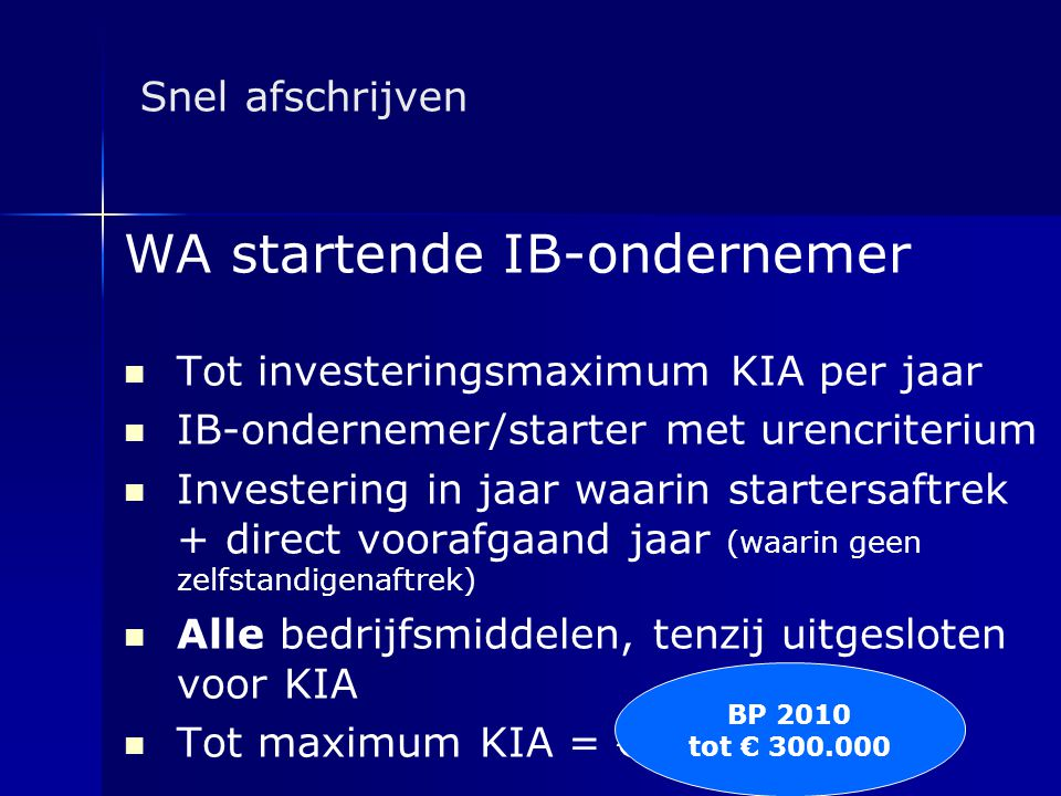 WA startende IB-ondernemer
