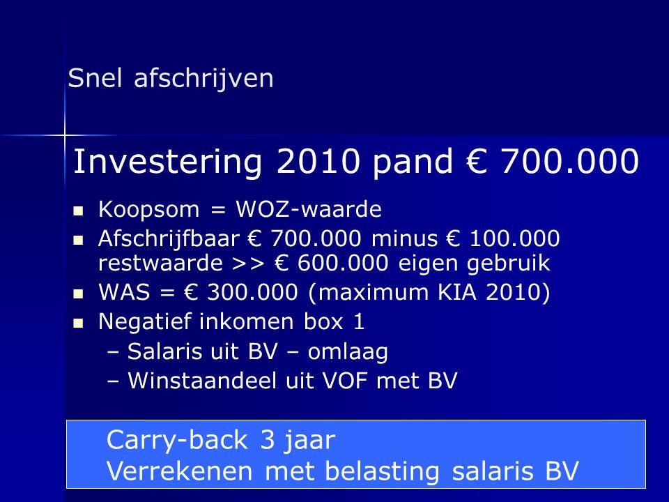Investering 2010 pand € 700.000 Snel afschrijven Carry-back 3 jaar
