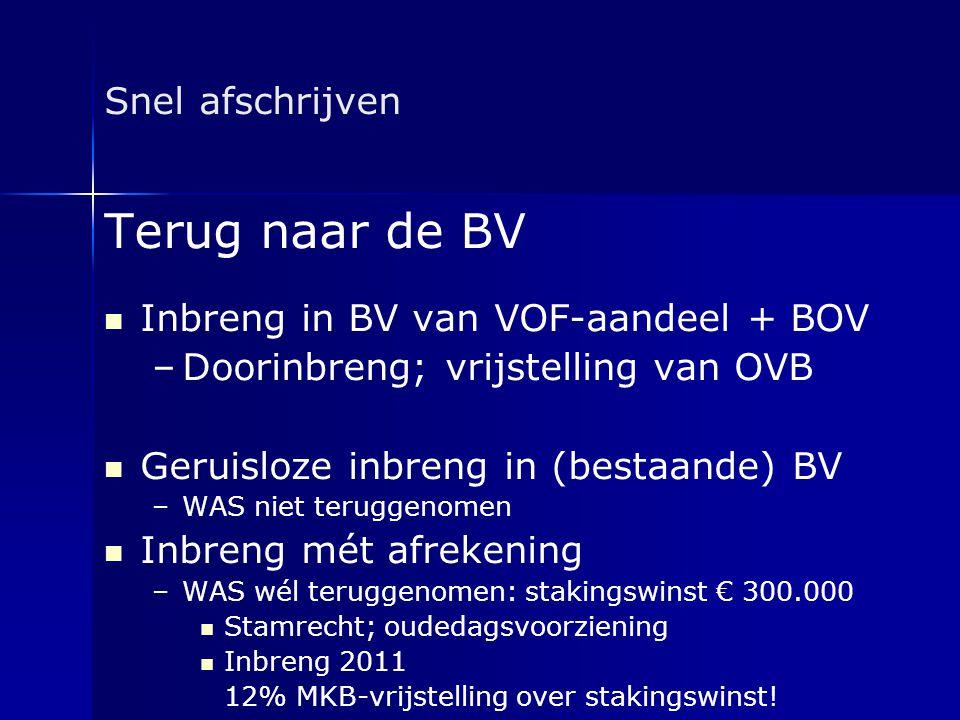 Terug naar de BV Snel afschrijven Inbreng in BV van VOF-aandeel + BOV