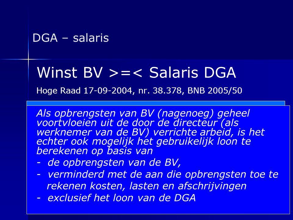 Winst BV >=< Salaris DGA