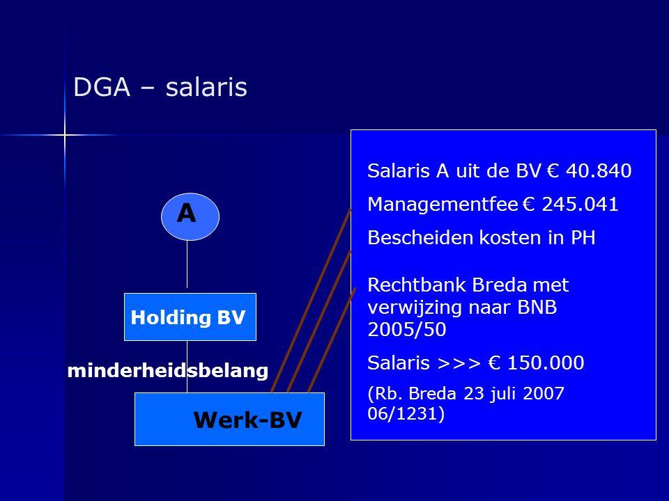 DGA – salaris A Werk-BV Salaris A uit de BV € 40.840