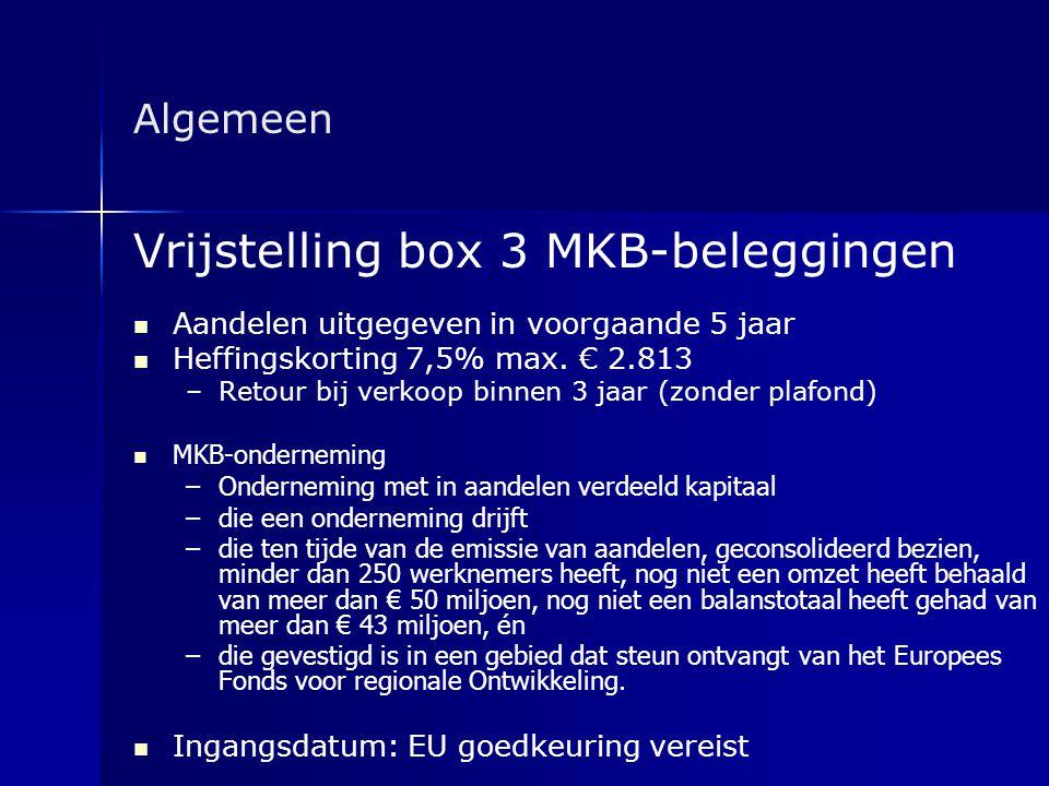 Vrijstelling box 3 MKB-beleggingen