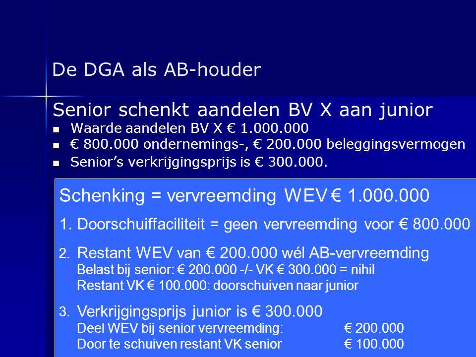 Senior schenkt aandelen BV X aan junior