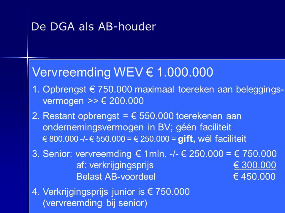 Vervreemding WEV € 1.000.000 De DGA als AB-houder