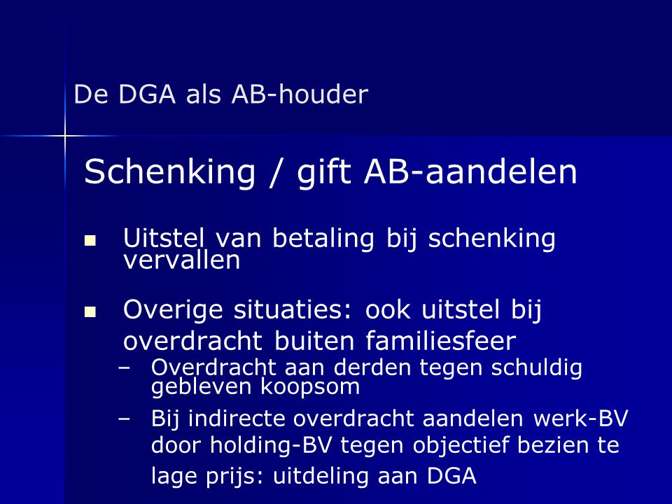 Schenking / gift AB-aandelen