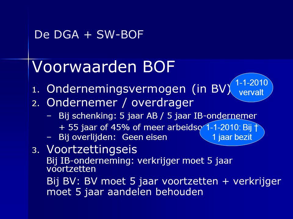 Voorwaarden BOF De DGA + SW-BOF Ondernemingsvermogen (in BV)