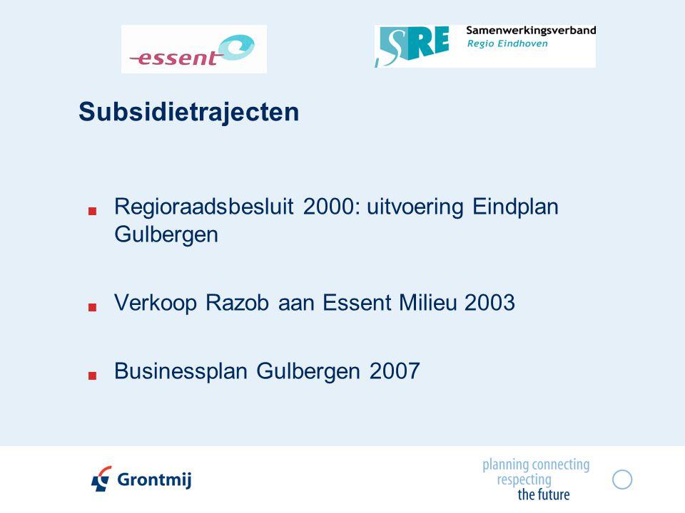 Subsidietrajecten Regioraadsbesluit 2000: uitvoering Eindplan Gulbergen. Verkoop Razob aan Essent Milieu 2003.