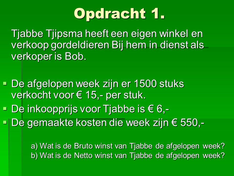 Opdracht 1. Tjabbe Tjipsma heeft een eigen winkel en verkoop gordeldieren Bij hem in dienst als verkoper is Bob.