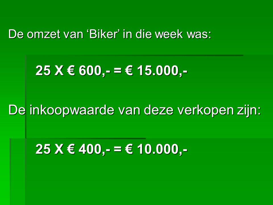 De inkoopwaarde van deze verkopen zijn: 25 X € 400,- = € 10.000,-