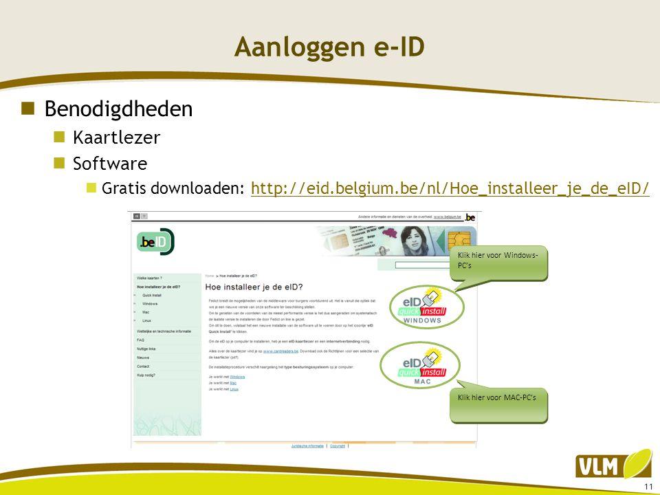 Aanloggen e-ID Benodigdheden Kaartlezer Software