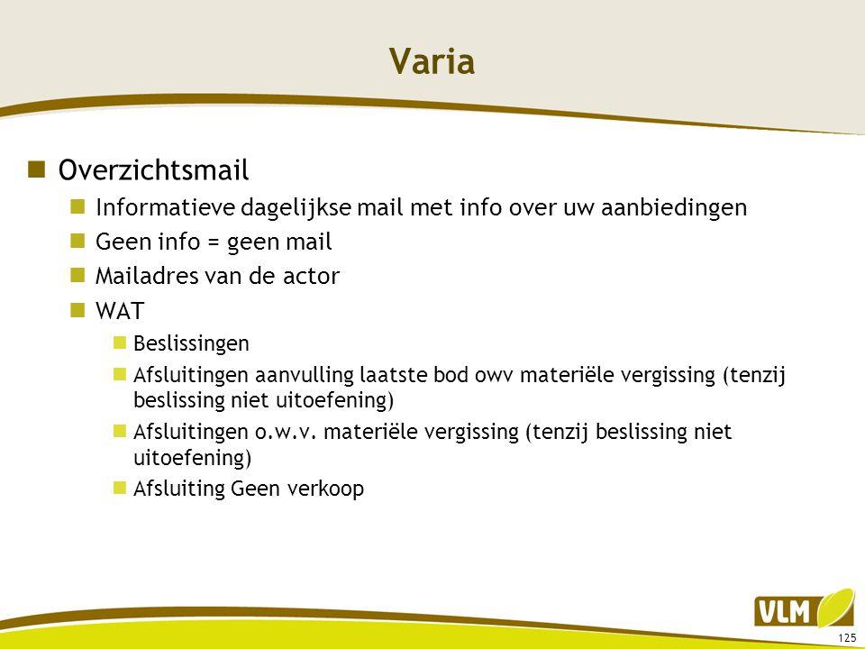 Varia Overzichtsmail. Informatieve dagelijkse mail met info over uw aanbiedingen. Geen info = geen mail.
