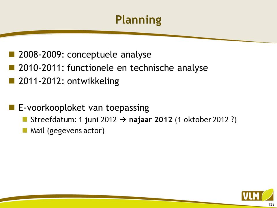 Planning 2008-2009: conceptuele analyse