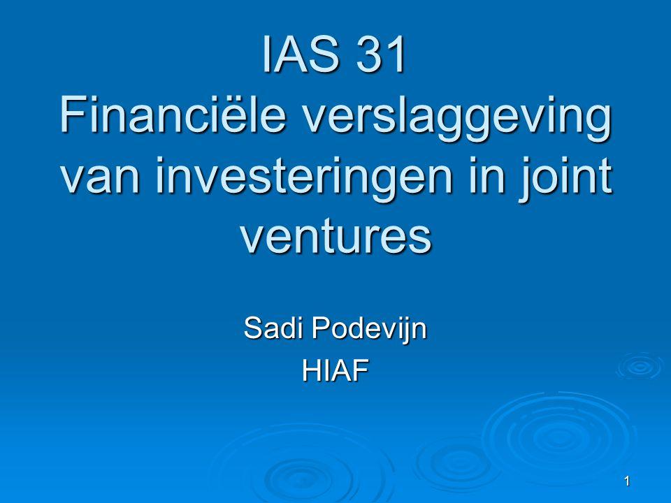 IAS 31 Financiële verslaggeving van investeringen in joint ventures