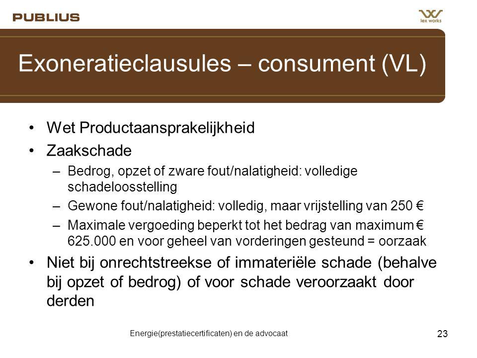 Exoneratieclausules – consument (VL)