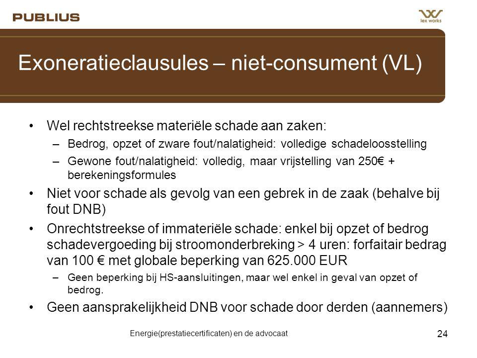 Exoneratieclausules – niet-consument (VL)