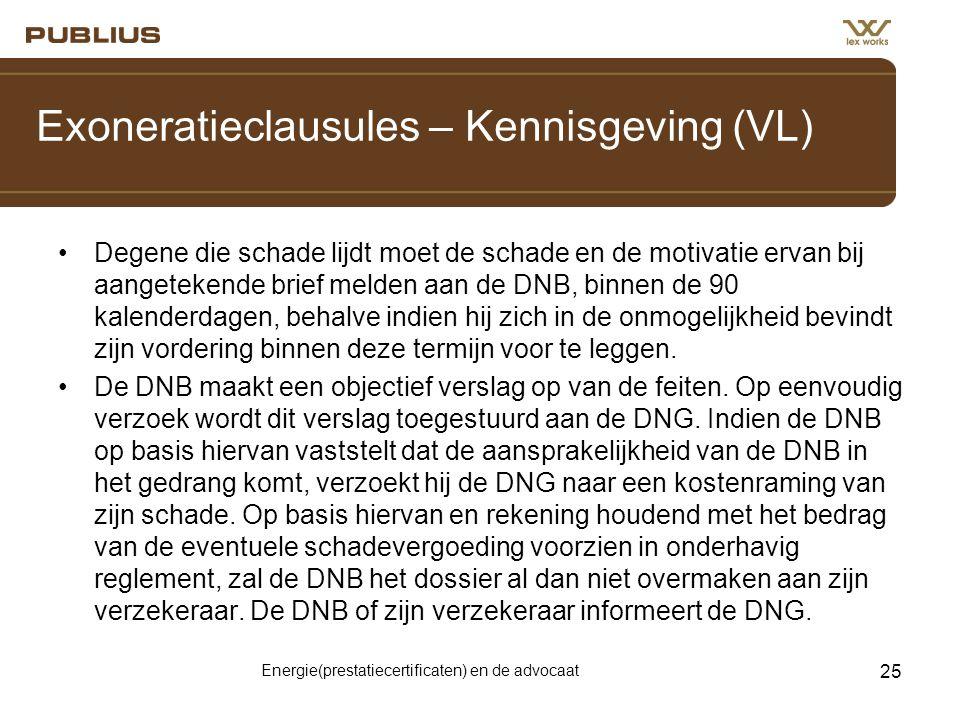 Exoneratieclausules – Kennisgeving (VL)