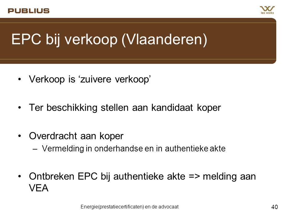 EPC bij verkoop (Vlaanderen)
