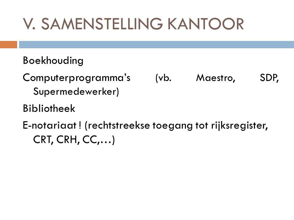 V. SAMENSTELLING KANTOOR