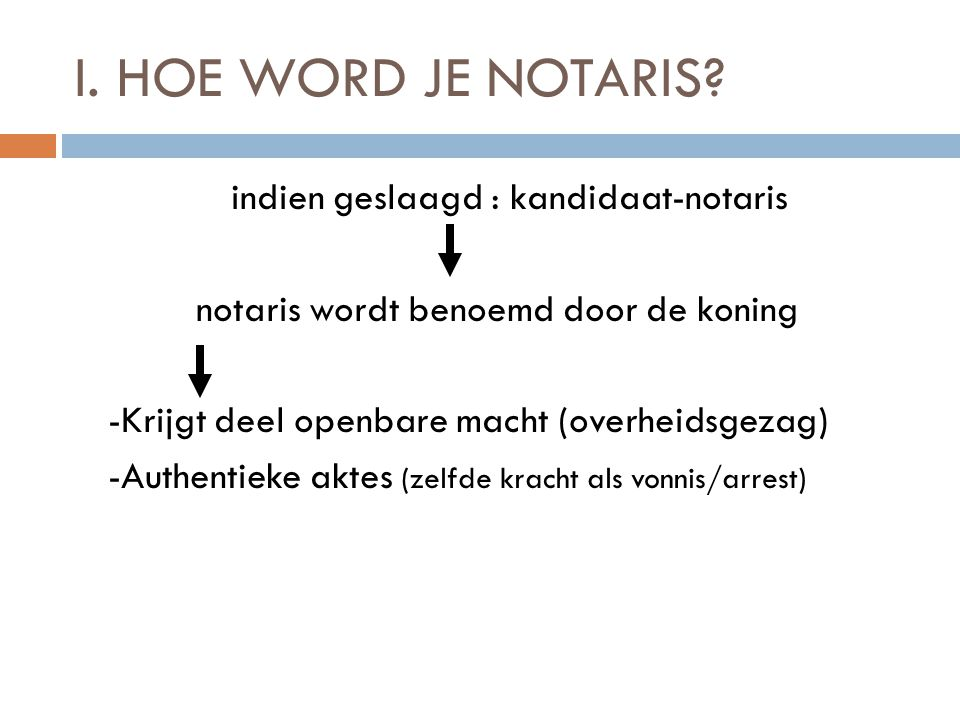 I. HOE WORD JE NOTARIS