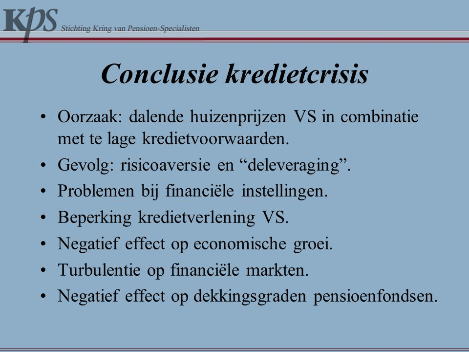 Conclusie kredietcrisis