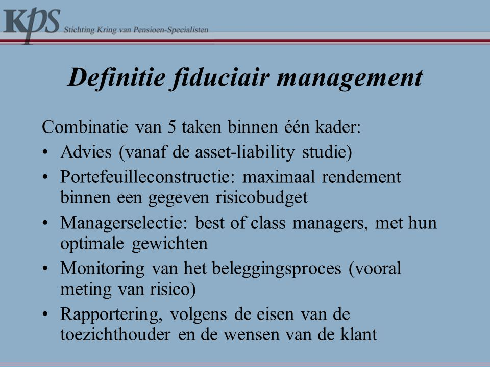 Definitie fiduciair management