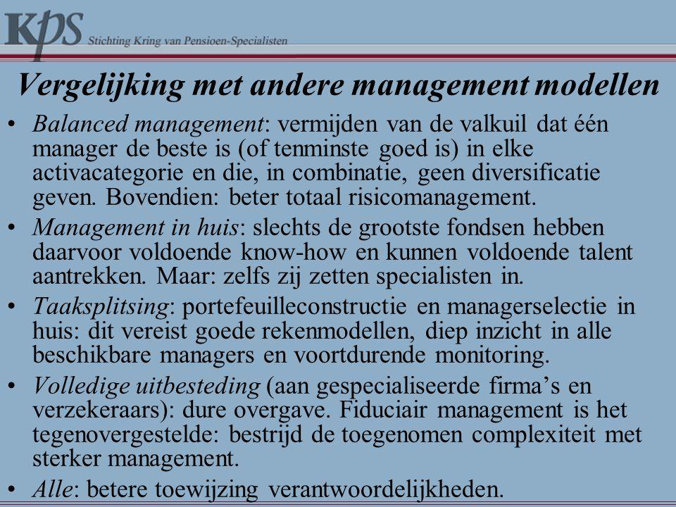 Vergelijking met andere management modellen