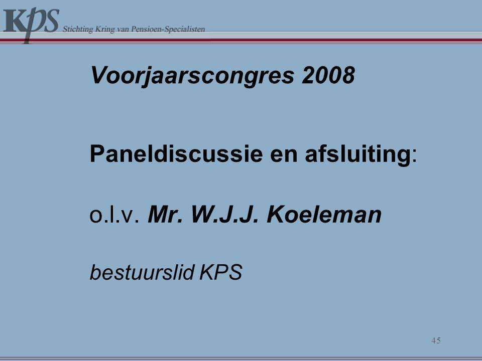 Voorjaarscongres 2008 o.l.v. Mr. W.J.J. Koeleman