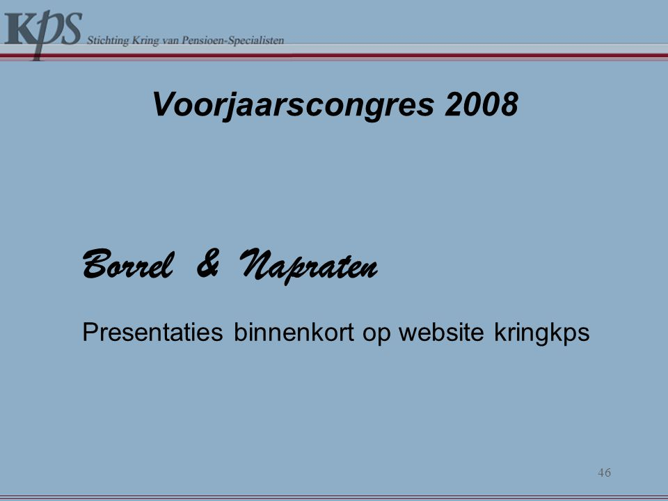Borrel & Napraten Presentaties binnenkort op website kringkps