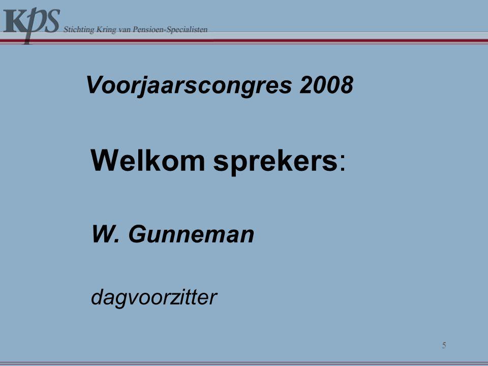 Voorjaarscongres 2008 Welkom sprekers: W. Gunneman dagvoorzitter