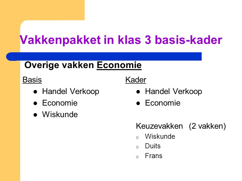 Vakkenpakket in klas 3 basis-kader