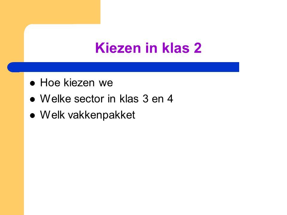 Kiezen in klas 2 Hoe kiezen we Welke sector in klas 3 en 4