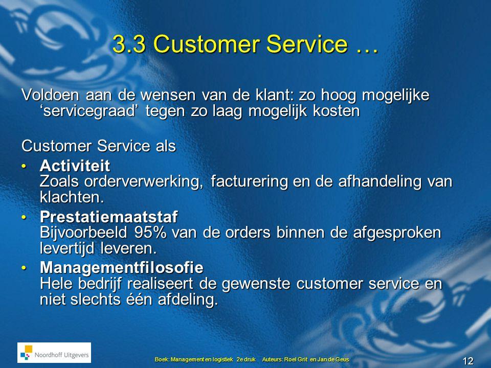 3.3 Customer Service … Voldoen aan de wensen van de klant: zo hoog mogelijke 'servicegraad' tegen zo laag mogelijk kosten.